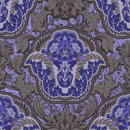 intricacy: Seamless damask pattern. Vintage classic wallpaper, background Illustration