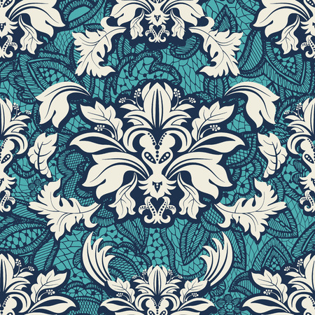 Seamless damask pattern. Vintage classic wallpaper, background Illusztráció