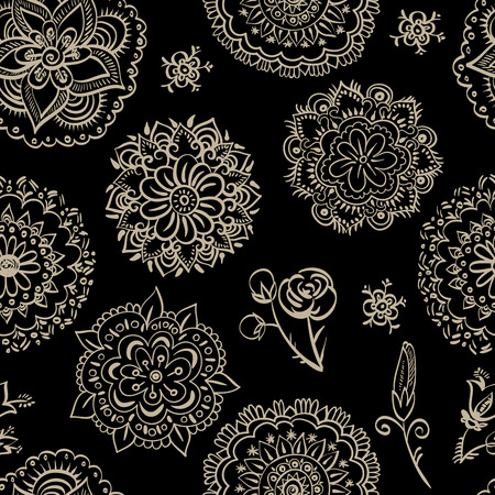 wallpaper floral: Vector monochrome floral pattern. Seamless wallpaper, background Illustration