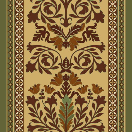 scroll design: Colorful seamless damask pattern, classic walpapper, background Illustration