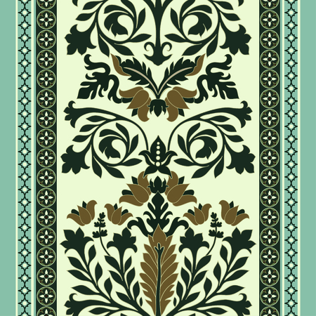 seamless damask: Colorful seamless damask pattern, classic walpapper, background Illustration