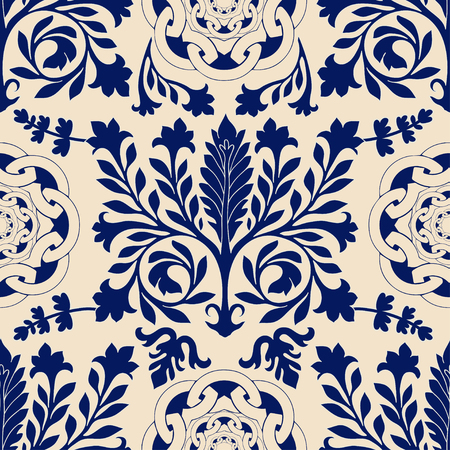 seamless damask: Vector seamless damask pattern, classic walpapper. Blue and beige background Illustration