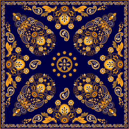 indonesia: Vector Paisley floral square design for shawl