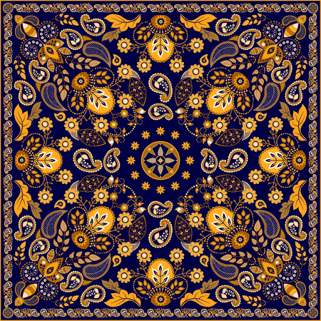 malaysia: Vector Paisley floral square design for shawl
