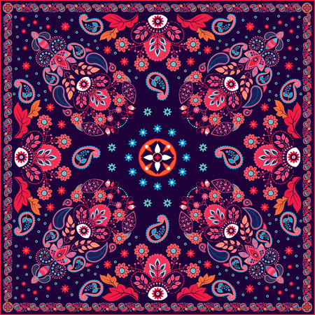 turkish: Vector Paisley floral square design for shawl