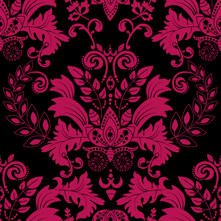 velvet fabric: Vector seamless damask pattern, colorful rococo background