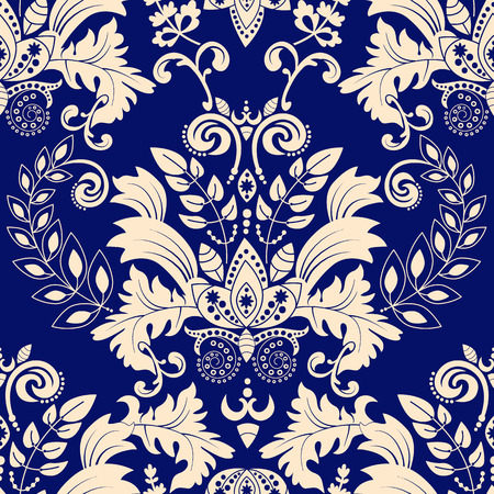 rococo: Vector seamless damask pattern, colorful rococo background