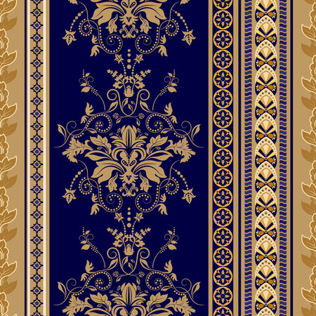 Vector seamless damask pattern, colorful rococo background