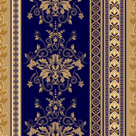 Vector naadloze damast patroon, kleurrijke rococo achtergrond