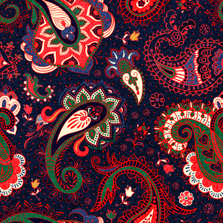 Vector seamless Paisley pattern. Floral Paisley background