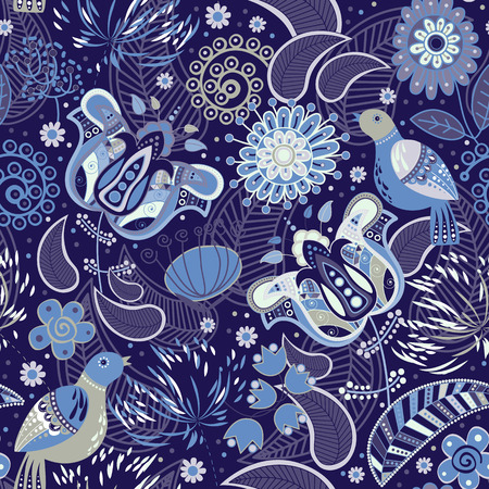Colorful seamless pattern with decorative birds and flowers 일러스트