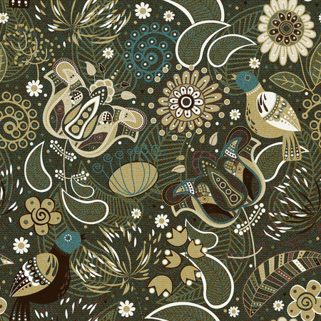 batik: Colorful seamless pattern with decorative birds and flowers Illustration