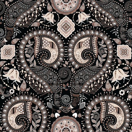 seamless pattern floral: Paisley seamless pattern. Floral ornametal background, black wallpaper Illustration