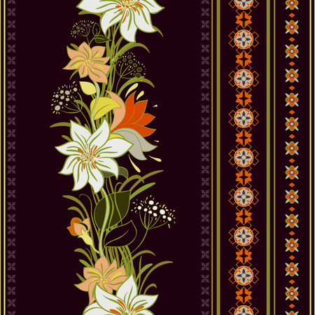 Striped seamless pattern. Colorful floral wallpaper, ornamental background