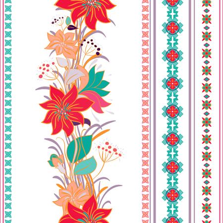 Gestreept naadloos patroon. Kleurrijke bloemen behang, sierachtergrond