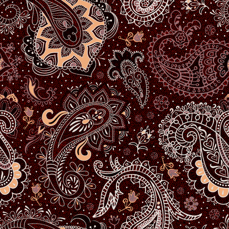 Colorful ethnic seamless pattern. Vector imitation fabric texture