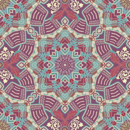 batik pattern: Ethnic seamless pattern. Colorful ornamental background, wallpaper Illustration