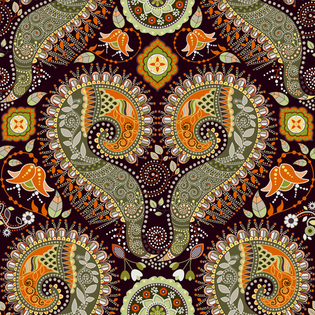 ornamental pattern: Ethnic seamless pattern. Colorful ornamental background, wallpaper Illustration