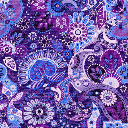 Seamless Paisley background, floral pattern. Jeans texture effect, vector