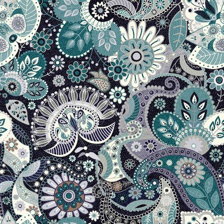 disegni cachemire: Paisley sfondo trasparente, motivo floreale. Jeans effetto trama, illustrazione Vettoriali