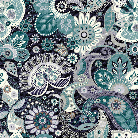 paisley: Seamless Paisley background, floral pattern. Jeans texture effect, vector