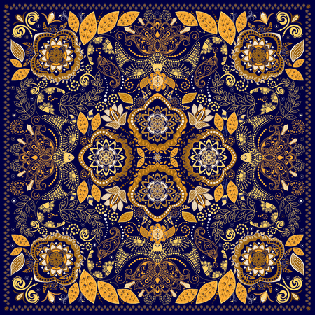 textile fabrics: Ornamental colorful pattern, design for pocket square, textile, silk shawl Illustration