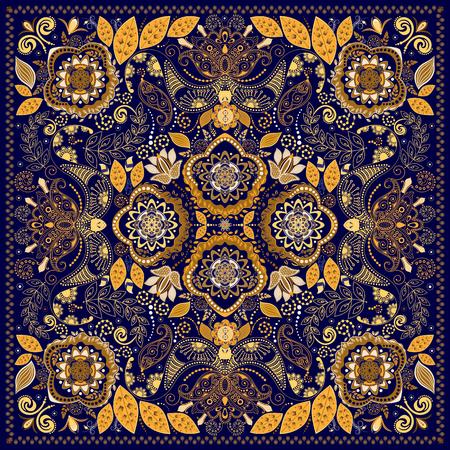 disegni cachemire: Ornamentale colorato, progettazione per piazza tasca, tessile, scialle di seta