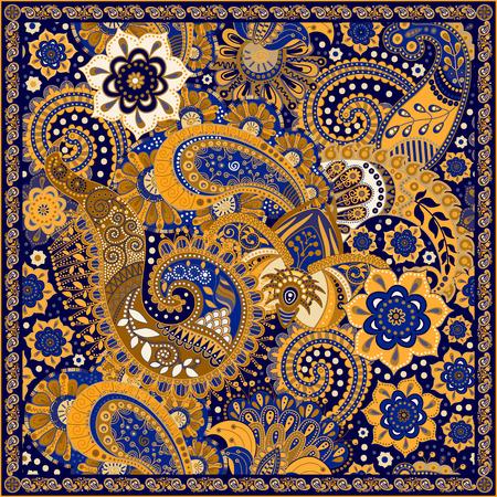 textil: patrón de colores ornamentales, diseño de bolsillo cuadrado, textil, mantón de seda Vectores