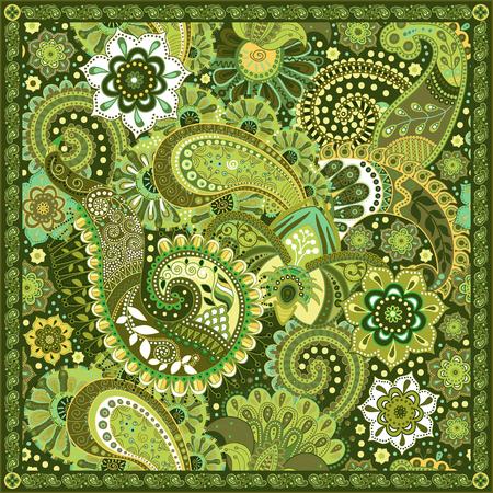 Ornamental colorful pattern, design for pocket square, textile, silk shawl Illustration