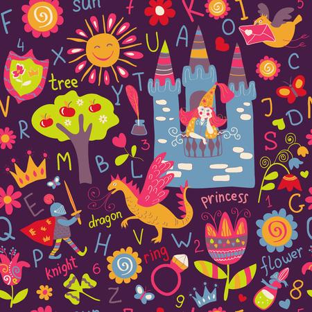 Child seamless pattern, fairy tale wallpaper, background
