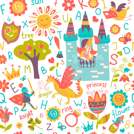 castillos de princesas: Modelo inconsútil del Niño, fondos de escritorio de cuento de hadas, fondo Vectores
