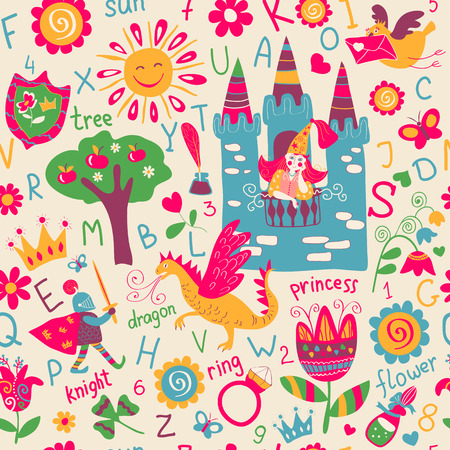 alphabet wallpaper: Child seamless pattern, fairy tale wallpaper, background