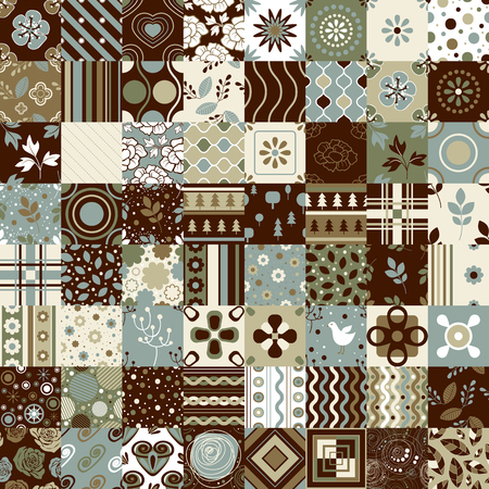 brown background: Seamless patchwork pattern ornaments. Each element can be used as a seamless pattern Illustration