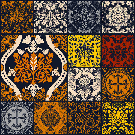 Naadloze lapwerkpatroon ornamenten. Kan gebruikt worden voor behang, patroonvullingen, webpagina achtergrond, oppervlaktestructuren.