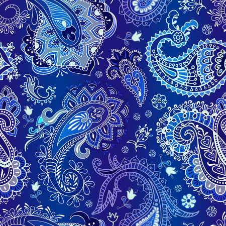 Paisley seamless pattern. Colorful floral wallpaper, ornament background