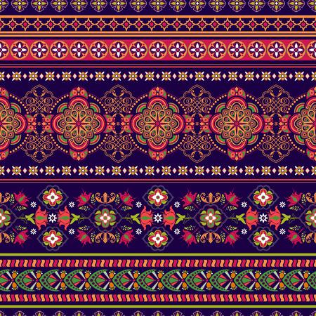disegni cachemire: Ornamentali motivo floreale senza soluzione di continuità. bordo ornamentale colorato