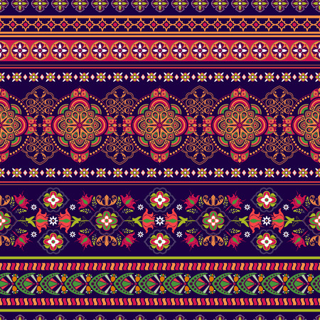 Ornamental seamless floral pattern.  Colorful ornamental border