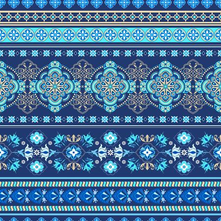 disegni cachemire: Ornamentali motivo floreale senza soluzione di continuit�. bordo ornamentale colorato