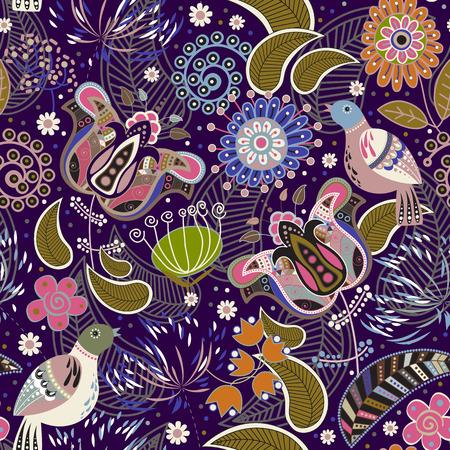 animal print: Paisley patrón transparente con pájaros, colorido fondo de pantalla