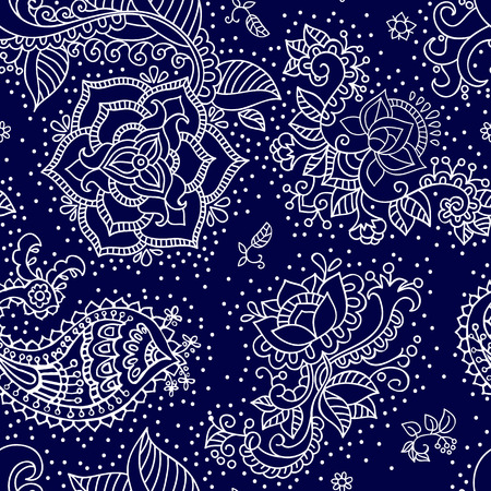Bright seamless pattern in paisley style. Colorful wallpaper