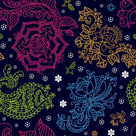 batik: seamless brillant dans le style paisley. Colorful fond d'�cran Illustration