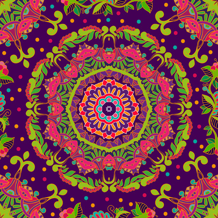 indian teenager: Bright seamless pattern in paisley style. Colorful wallpaper