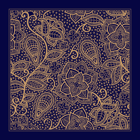 indonesian: Design for square pocket, shawl, textile. Lace floral pattern
