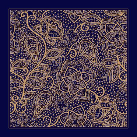 Design for square pocket, shawl, textile. Lace floral pattern