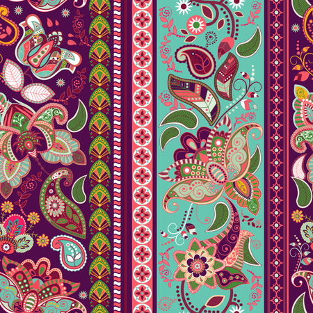 ornamental: Striped seamless pattern. Colorful floral wallpaper, ornamental background