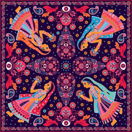 Design for poche carrée, châle, textile. motif floral Paisley Vecteurs