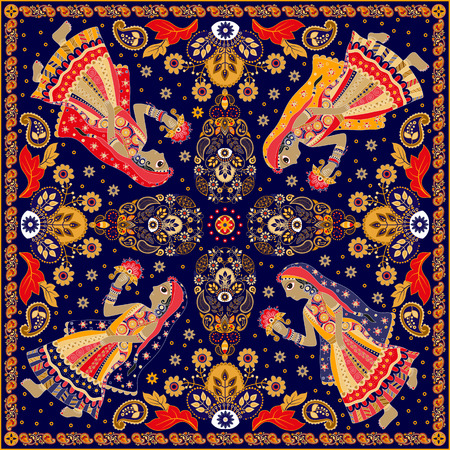 square dancing: Design for square pocket, shawl, textile. Paisley floral pattern