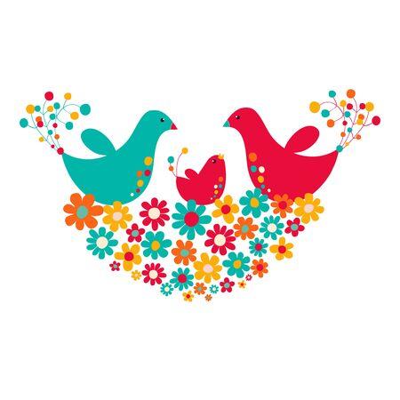 Deux oiseaux avec des poussins dans le nid de fleurs, illustration