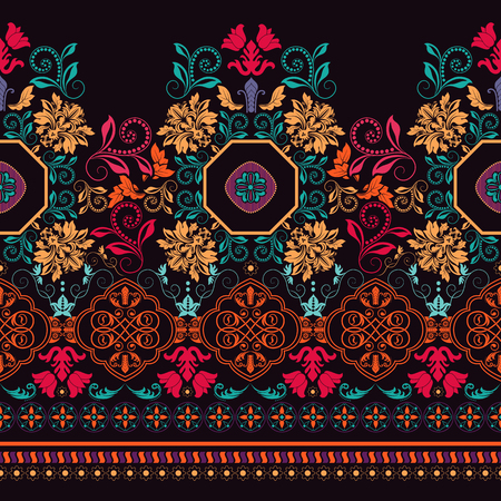 Bright colorful striped floral pattern. border