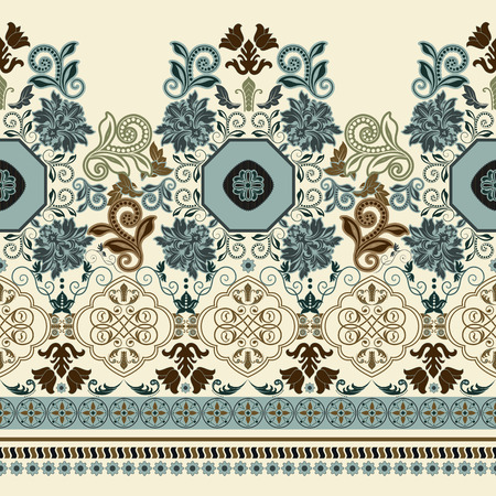 ornaments floral: Bright colorful striped floral pattern. border